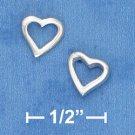 STERLING SILVER HEART OUTLINE POST EARRINGS   (ep631)