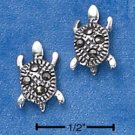 STERLING SILVER MARCASITE TURTLE POST EARRINGS  (ep582)