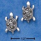 STERLING SILVER MARCASITE TURTLE POST EARRINGS  (ep582)