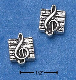 STERLING SILVER MUSIC G-CLEFF ON SHEET MINI-POST EARRINGS  (ep573)
