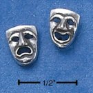 STERLING SILVER ONE SIDE COMEDY & ONE SIDE TRAGEDY ANTIQUED POST EARRINGS  (ep571)