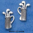 STERLING SILVER GOLF CLUBS IN BAG POST EARRINGS  (ep569)