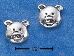 STERLING SILVER PIG FACE POST EARRINGS  (ep567)