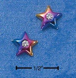 STERLING SILVER MULTI-COLOR ENAMELED STAR W/ CZ MINI-POST EARRINGS  (ep539)