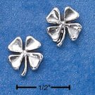 STERLING SILVER FOUR LEAF CLOVER MINI-POST EARRINGS  (ep538)