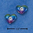 STERLING SILVER MULTI-COLOR ENAMELED HEART W/ CZ MINI-POST EARRINGS  (ep536)