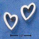 STERLING SILVER LOPSIDED HEART POST EARRINGS  (ep535)
