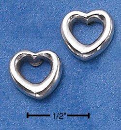STERLING SILVER SIMPLE OPEN HEART POST EARRINGS  (ep534)