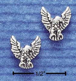 STERLING SILVER ANTIQUED MINI EAGLE POST EARRINGS  (ep309)