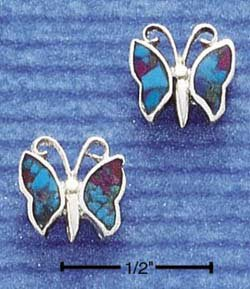 STERLING SILVER MULTI INLAY BUTTERFLY POST EARRINGS  (ep294)