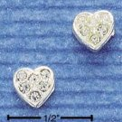 STERLING SILVER PAVE HEART POST EARRINGS  (ep279)