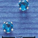 STERLING SILVER 4MM DECEMBER CZ POST EARRINGS (BLUE)  (ep268)