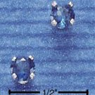 STERLING SILVER 4MM SEPTEMBER CZ POST EARRINGS (DARK BLUE)  (ep265)