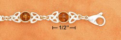 "STERLING SILVER JEWELRY 7.5"" ROUND HONEY AMBER CELTIC LINK BRACELET W/ LOBSTER CLAW CLASP  (br2642)"