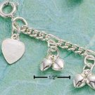 "STERLING SILVER MULTIPLE DOUBLE DANGLE HEART 9"" ANKLET  (br465)"