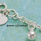 "STERLING SILVER 9"" HARMONY BALL ANKLET  (br411)"