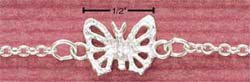 "STERLING SILVER 9"" BUTTERFLY ANKLET  (br1070)"