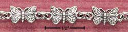 STERLING SILVER MULTI ANTIQUED BUTTERFLY ANKLET  (br1071)