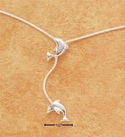 "STERLING SILVER 9-10"" SNAKE CHAIN ANKLET W/ DOLPHIN & DOLPHIN DANGLE  (br2052)"