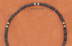 "STERLING SILVER 9"" SILVER & GRAY PONY BEAD ANKLET  (br2317)"