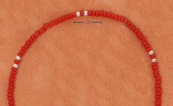 "STERLING SILVER 9"" SILVER & RED PONY BEAD ANKLET  (br2318)"