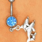 STERLING SILVER JEWELRY BELLY RING W/ SAPPHIRE GEMSTONE & DOUBLE DOLPHIN DANGLE (sc117)