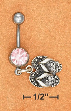 STERLING SILVER JEWELRY BELLY RING W/ PINK ICE GEMSTONE & FLIP FLOP DANGLE  (sc120)