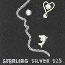 STERLING SILVER JEWELRY BALL-DOLPHIN & HEART WITH CLEAR CRYSTAL NOSE STUD SET (sc125)