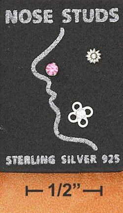 STERLING SILVER JEWELRY NOSE SET W/ PINK CRYSTAL-PLAIN SUN & CLEAR CRYSTAL FLOWER  (sc126)