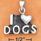 "STERLING SILVER JEWELRY  ""I HEART DOGS"" PENDANT W/ BLACK ENAMEL FOR YOU OR PET  (ch3266)"
