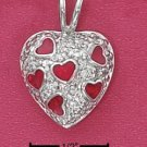 STERLING SILVER JEWELRY PAVE CZ HEART CHARM WITH RED ENAMEL HEARTS (CH3002)