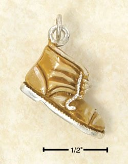 STERLING SILVER JEWELRY ENAMEL BROWN BOOT CHARM  (ch2968)