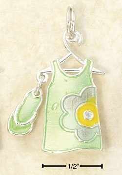 STERLING SILVER JEWELRY GREEN ENAMEL SUNDRESS & FLIP-FLOP CHARM (ch2964)