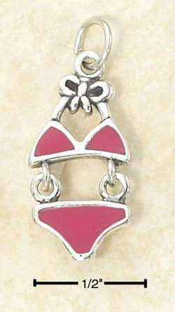 STERLING SILVER JEWELRY MOVEABLE ENAMEL PINK BIKINI CHARM (ch2962)