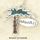 STERLING SILVER JEWELRY ENAMELED PALM TREE CHARM WITH HAWAII TAG  (ch2961)
