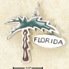STERLING SILVER JEWELRY ENAMELED PALM TREE CHARM WITH FLORIDA TAG (ch2959)