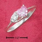 STERLING SILVER JEWELRY 6MM PNK ICE HEART W/ WHITE CZ IN OPEN HEART RING SIZES 4-9  (cr61)
