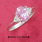 STERLING SILVER JEWELRY DOUBLE HEART SHANK OVAL PINK ICE RING SIZES 4-9 (cr65)