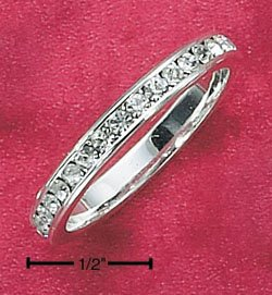 STERLING SILVER JEWELRY CZ APRIL ETERNITY BAND (5-9) (sr79)