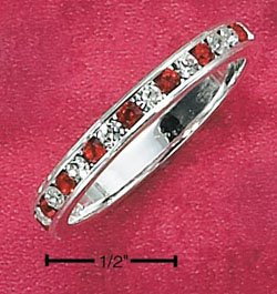 STERLING SILVER JEWELRY CZ & SYNTHETIC RUBY JULY ETERNITY BAND (5-9) (sr82)