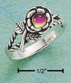 STERLING SILVER JEWELRY ROSE RING W/ GERMAN CRYSTAL SIZES 5-9