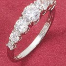 STERLING SILVER JEWELRY 7 STONE ROUND GRADUATED CUBIC ZIRCONIAS RING (sr1282)