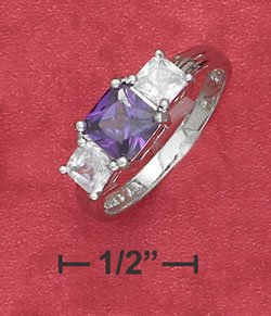 STERLING SILVER JEWELRY 6MM PURPLE CZ W/ 4MM CLEAR CZ THREE STONE RING (sr2757)