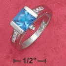 STERLING SILVER JEWELRY RP 7M TENSION SET SQ PRINCESS CUT BLUE CZ RING W/ CHAN SET CZ SIDES (sr2747)
