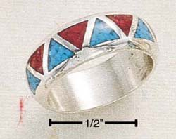 STERLING SILVER JEWELRY TRAINGLE SHAPED TURQUOISE AND CORAL INLAY WEDDING BAND SIZES 4-13  (sr2)