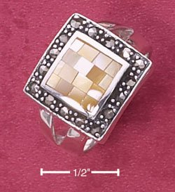 STERLING SILVER JEWELRY YELLOW MOP MOSAIC SQUARE RING WITH MARCASITE BORDER  (msr143)