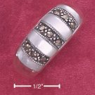 STERLING SILVER JEWELRY MARCASITE & MOTHER OF PEARL BANDED DOME RING (6-9) (msr148)