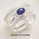 STERLING SILVER JEWELRY TRIPLE STACK SHANK W/ OVAL SIDE LAPIS RING SIZES 5-10 (cr242)