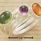 STERLING SILVER JEWELRY TRIPLE STACK RING W/ ROUND AMETHYST,PERIDOT & AMBER STONES SZS 5-9 (cr246)