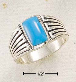 STERLING SILVER JEWELRY MEN'S RECTANGULAR TURQUOISE RING W/ STRIPED SHANK SIZES 9-13  (sr268)